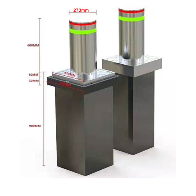 600x273MM 304 Stainless Steel Hydraulic Rising Traffic Bollards With Rising Height 600mm